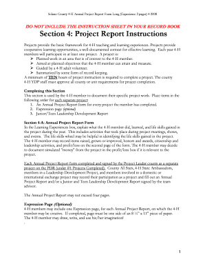 Solano County 4-H Annual Project Report Form