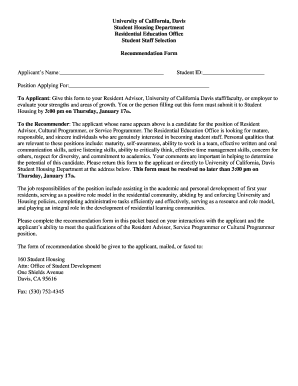 letter of recommendation form uc davis student housing housing ucdavis