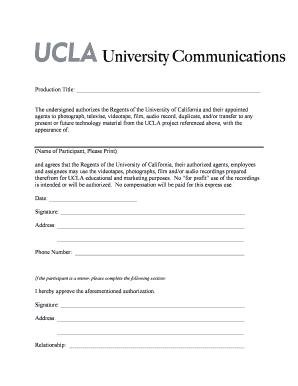 Photo Release Form   UCLA On YouTube.com   Youtube Ucla