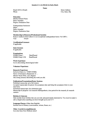 sample medical cv ucla form