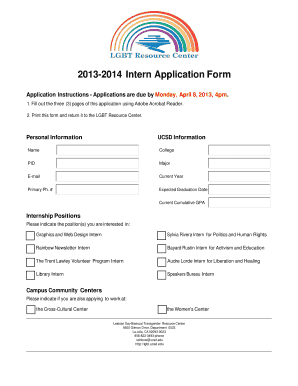 intern application form template