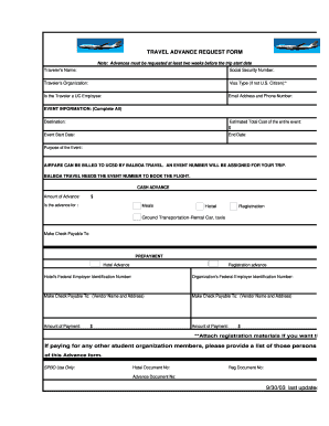 Fillable Online Solo Ucsd Travel Advance Request Form 9 30 03 Last Updated Solo Ucsd Fax Email Print Pdffiller