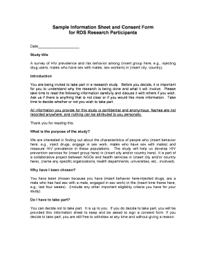 consent form template for research - Fillable & Printable Samples ...