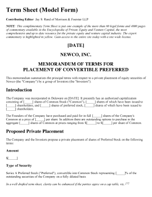24 printable non binding term sheet forms and templates for Investor term sheet template
