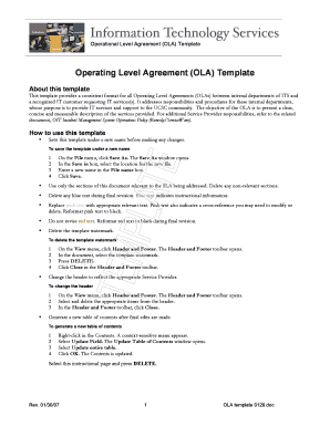 Operational level agreement example.