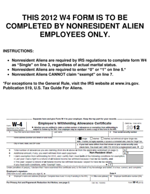 This 2012 w4 form is to be completed by nonresident alien - finserv uchicago