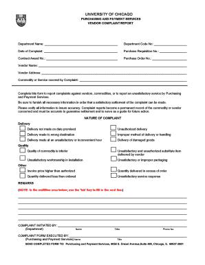 Complaint letter for damaged goods edit fill print download vendor complaint report adminet university of chicago spiritdancerdesigns Gallery