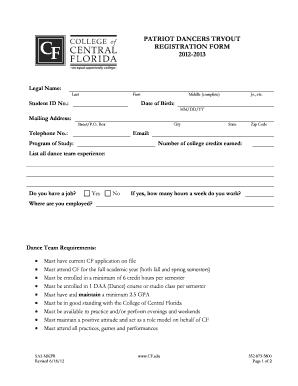 Patriot Dancers Tryout Registration Form - College of Central Florida - pr cf