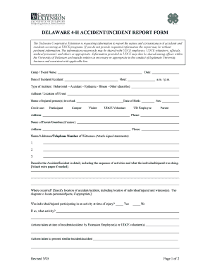 Accident-Incident Report Form - Cooperative Extension - University ...