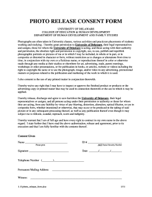 Photo Release Consent Form   Human Development And Family ...   Hdfs Udel