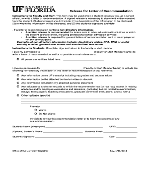 Release for Letter of Recommendation - UF Registrar - registrar ufl