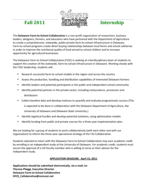 F2SC Fall 2011 Internship Application - University of Delaware - ag udel