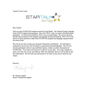Cover Letter and Consent Form - STARTALK - University of Maryland