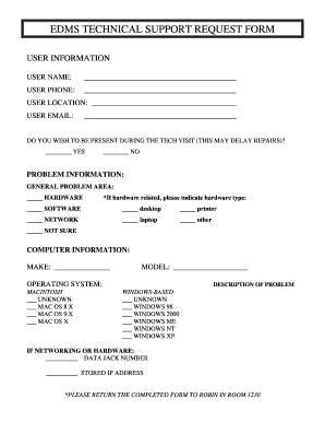 Tech Support Request Form - Fill Online, Printable, Fillable ...