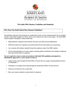 Smith MBA Resume Guidelines - Robert H. Smith School of ... - mbanetworth rhsmith umd