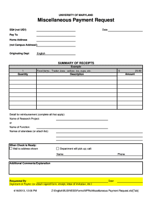 Fillable Online english umd Miscellaneous Payment Request form ...
