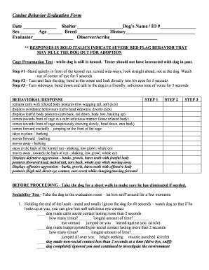 canine behavior evaluation form date shelter name id sex sheltermedicine