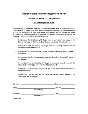 Fillable Online policy umn Sample Staff Acknowledgement Form ...