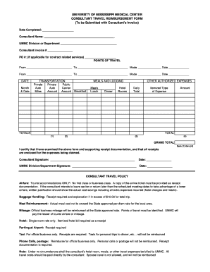 Consultant Travel Reimbursement Form - University of Mississippi ... - umc