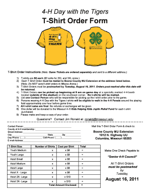 Fillable Online Group T-Shirt Order Form (PDF) - Missouri 4-H Fax ...