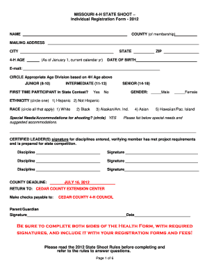 State 4 H Shooting Sports Registration Form (PDF)   University Of .