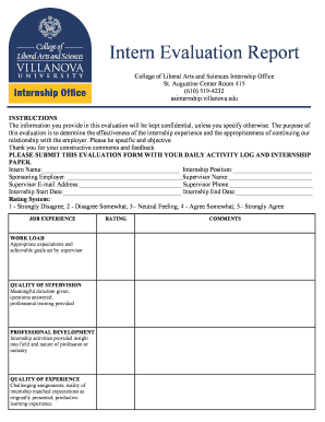 Fillable online www1 villanova intern evaluation report pdf fill online altavistaventures Gallery