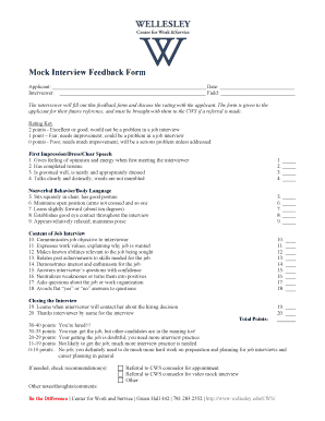 Fillable Online wellesley Mock Interview Feedback Form Fax Email ...