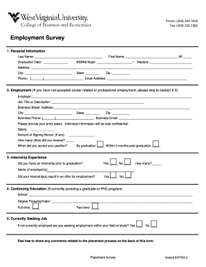 Employment Survey  Printable Survey Template