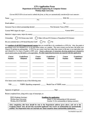Fillable Online cs wichita GTA Application Form - Witchita State ...