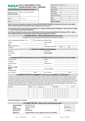 Nosa training booking form fill online printable fillable blank nosa training booking form thecheapjerseys Choice Image