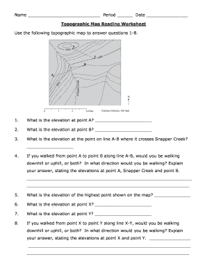 Printables Topographic Maps Worksheet topographic map reading worksheet answer key form fill online use the following to questions 1 8