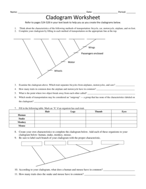 Fillable Online Cladogram Worksheet - Cloudfrontnet Fax Email Print ...