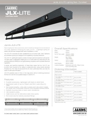 Fillable Online Jands Jlx Lite Lighting Bars Cut Sheet Fax