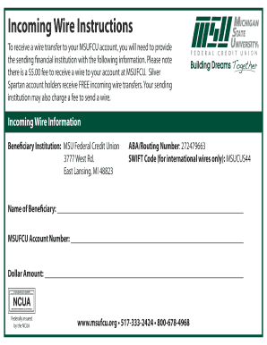 Pleasing Fillable Online To Receive A Wire Transfer To Your Msufcu Account Wiring Cloud Inamadienstapotheekhoekschewaardnl