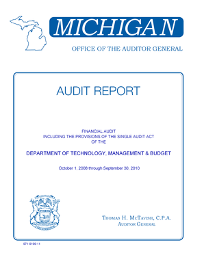 MICHIGAN OFFICE OF THE AUDITOR GENERAL AUDIT REPORT FINANCIAL AUDIT INCLUDING THE PROVISIONS OF THE SINGLE AUDIT ACT OF THE DEPARTMENT OF TECHNOLOGY, MANAGEMENT &amp