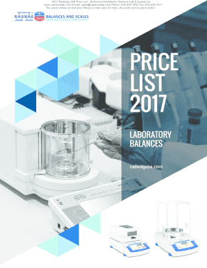 Fillable Online 2017 Radwag USA Price List - Authorized Distributor
