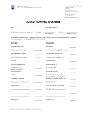 BUDGET PLANNING WORKSHEET - Student Services - students ok ubc