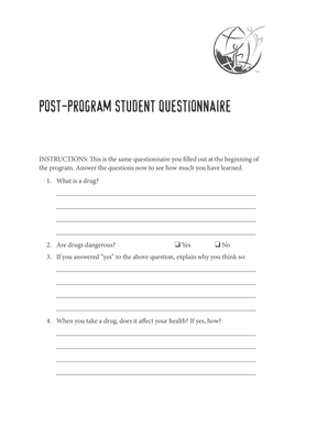 Postprogram student Questionnaire - Drug Free World