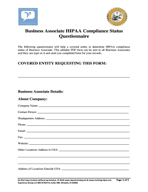 business associate hipaa compliance form hipaa training fill online printable fillable. Black Bedroom Furniture Sets. Home Design Ideas