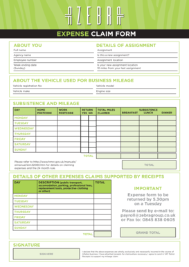Expenses Claim Form Templates - Fillable & Printable Samples for ...