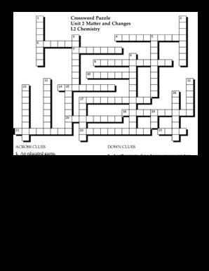 crossword puzzle unit 2 matter and changes l2