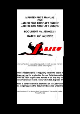 Fillable Online jabiru net Engine Maintenance Manual