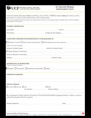 ferpa form ucf  Fillable Online international ucf ELI Records Release ...