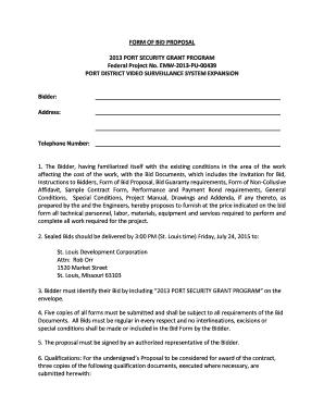 Sample bid proposal form Edit Fill Print Download Top