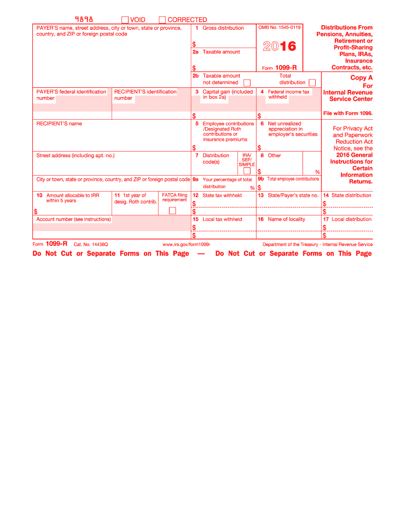 2016 Form Irs 1099 R Fill Online Printable Fillable Blank