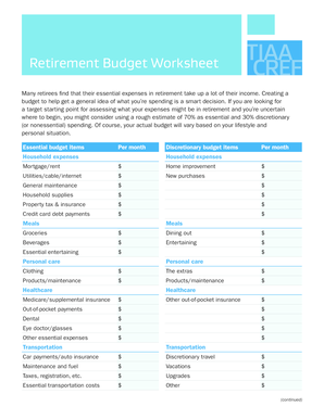 fillable online retirement budget worksheet tiaa cref fax email