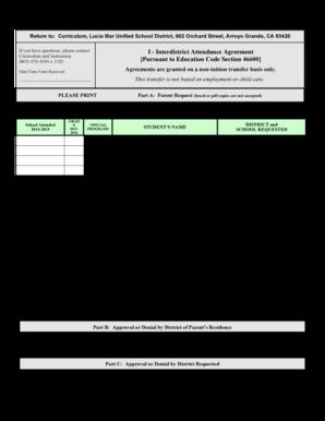 Lucia Mar Unified School District Interdistrict Transfer Form ...