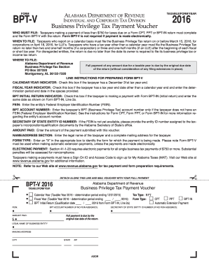 2016 Form AL ADoR BPT-V Fill Online, Printable, Fillable, Blank ...