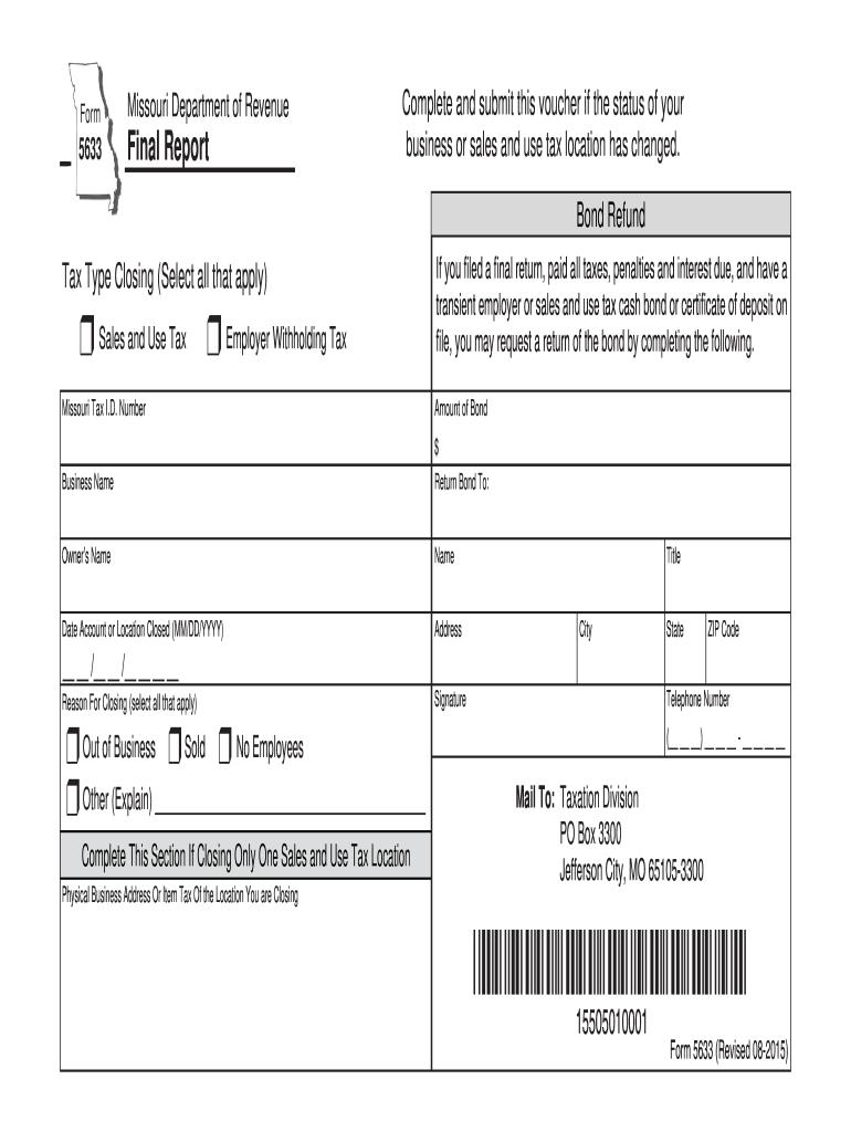 Missouri Form 5633 Fill Online Printable Fillable Blank Pdffiller
