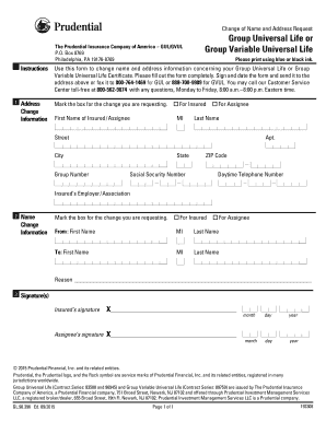 Fillable prudential life insurance name change form - Edit ...